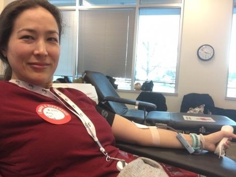 Mary Sanders donating blood