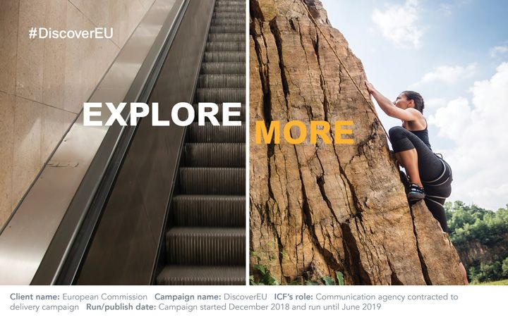 "Image on the left of an escalator going up next to an image on the right of a female rock climbing with the words ""Explore More"" across both"