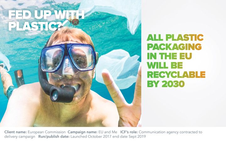 "Young male swimming with snorkel, holding up the peace sign. Text on the image reads ""Fed up with plastic"" and ""All plastic packaging in the EU will be recyclable by 2030"""