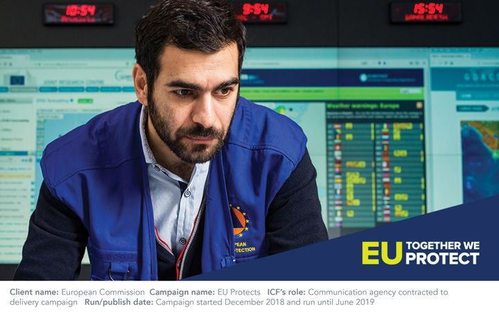 Male working in a control center for the EU