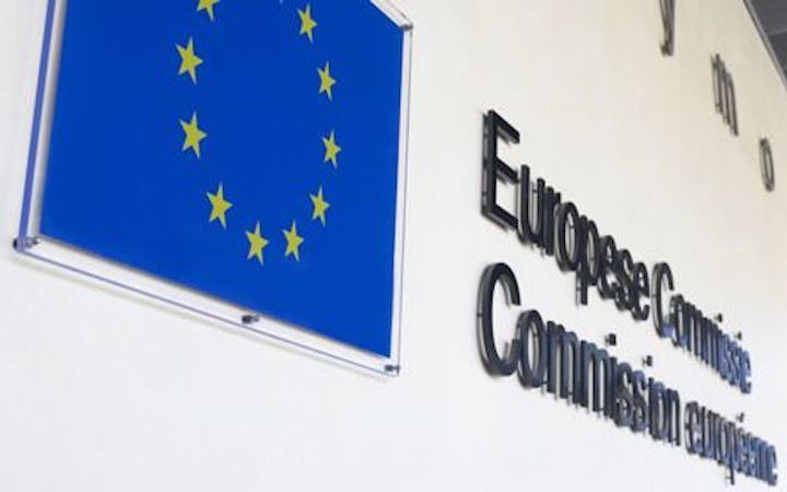 European Commission sign with flag