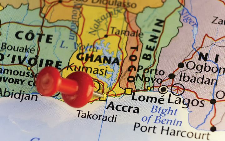 Ghana on a map