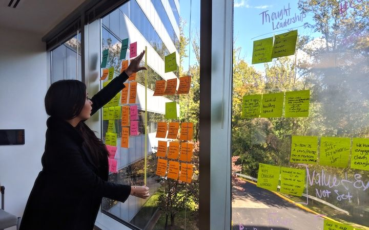 Colleague working on sprint planning using sticky notes on window