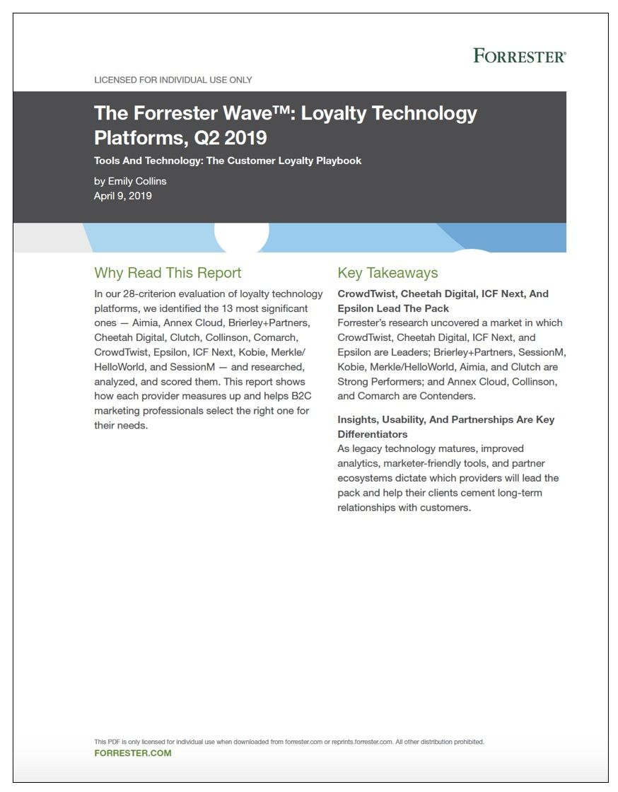 Snapshot of Forrester 2019 report