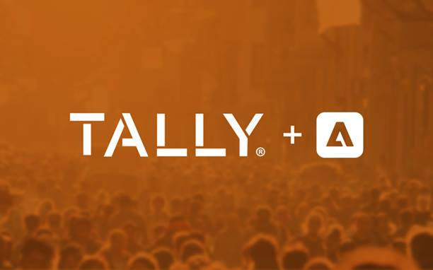 Tally and AEP logos on orange background