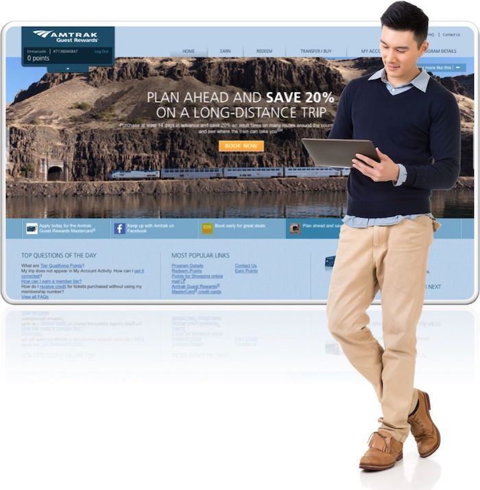 Passenger using Amtrak websites