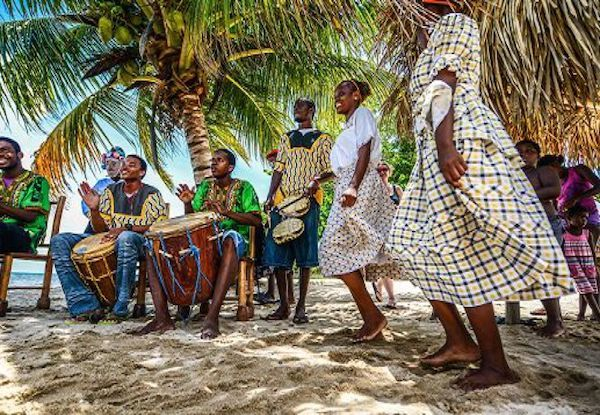 Beach entertainers in Belize