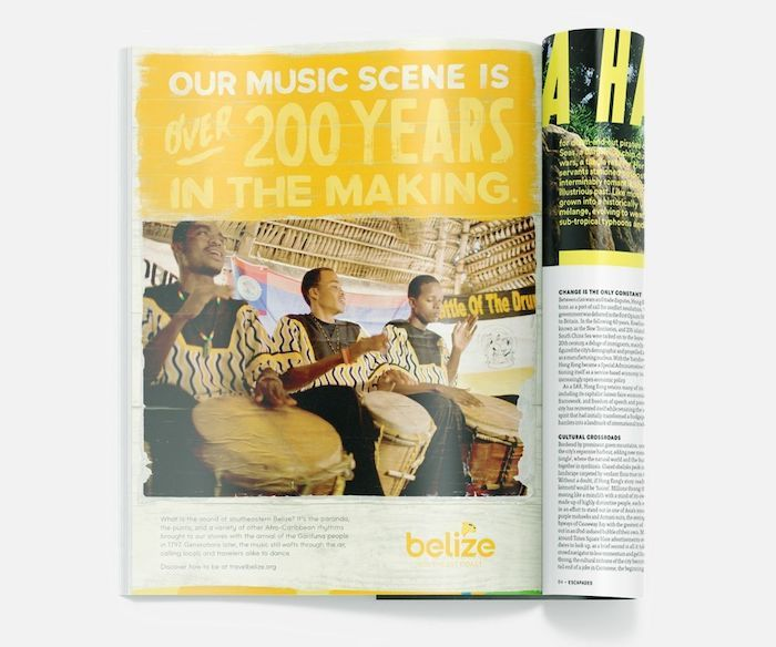 "Magazine fold of Belize headline  ""Our music scene is over 200 years in the making"""